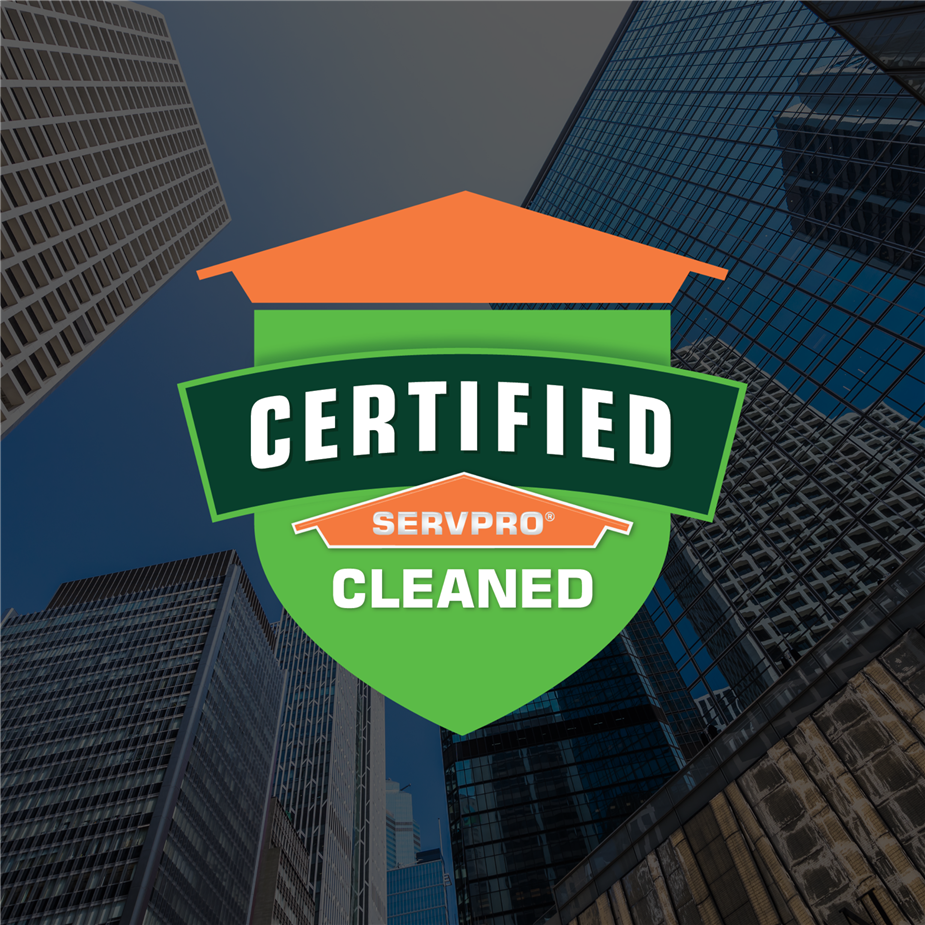 buildings covered by a Certified: SERVPRO Cleaned logo