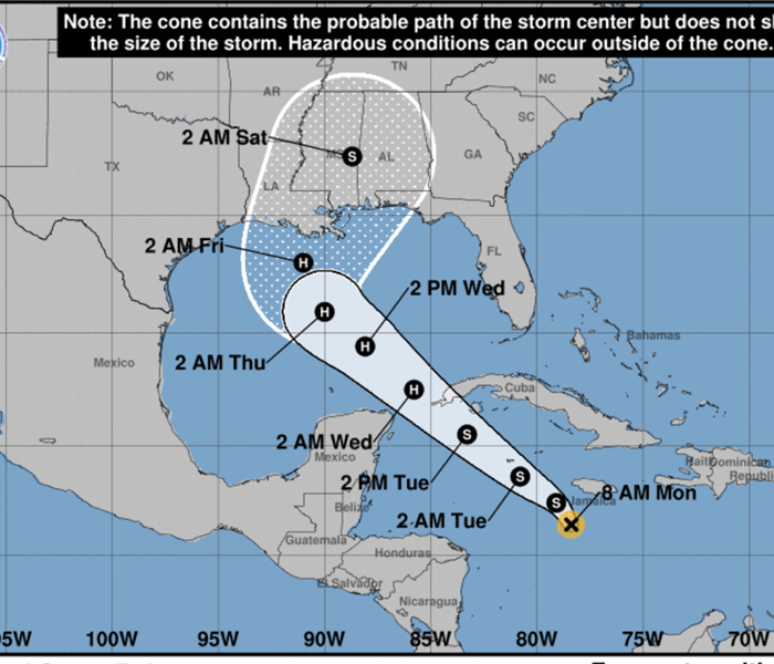 map of tropical storm Delta coming from Jamaica
